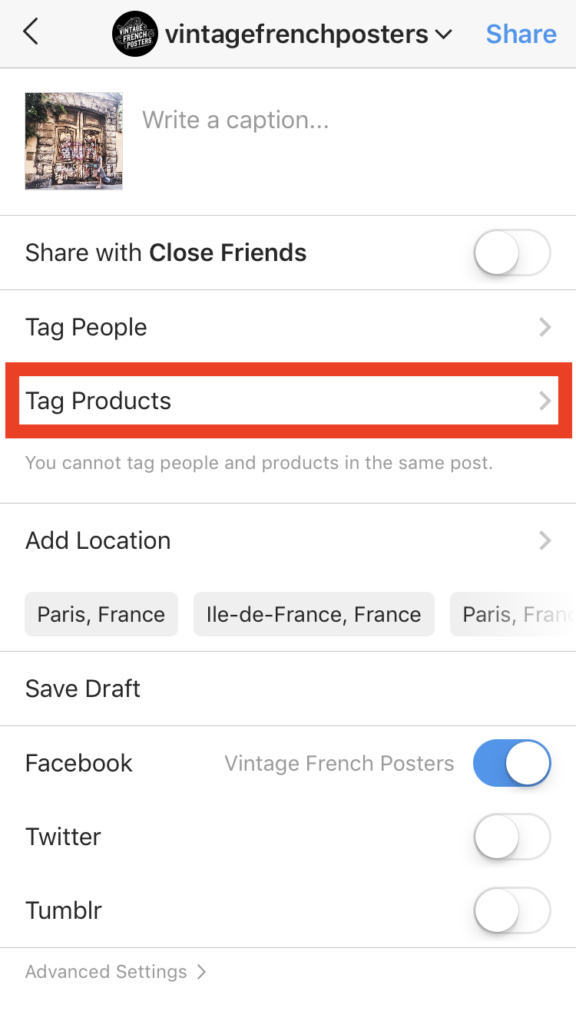 Instagram how to tag products